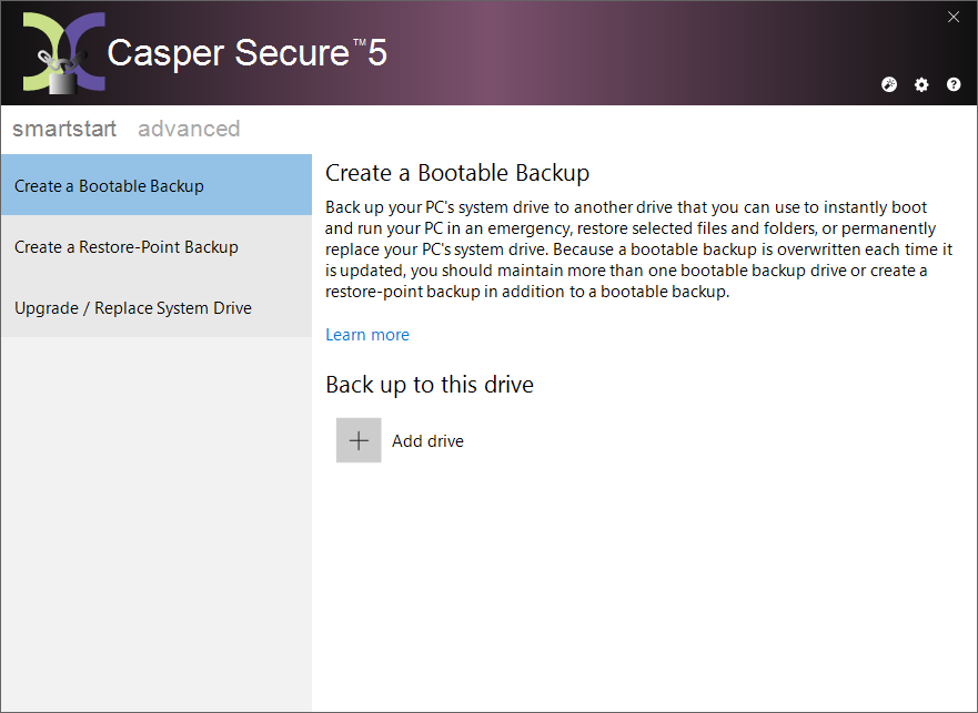 Image of Casper Secure Drive Backup Main Console
